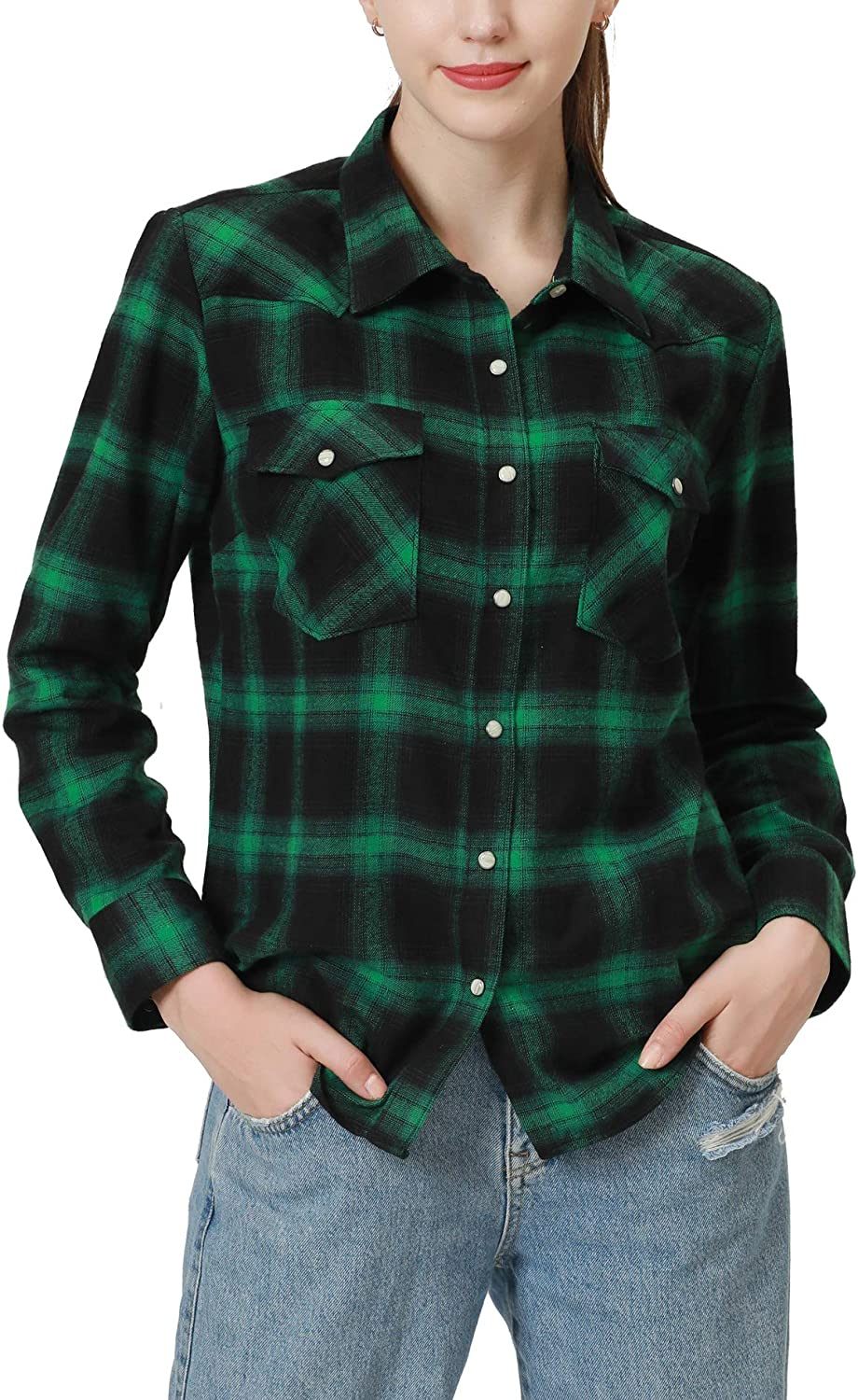 Snap Max 72% OFF Buttons Flannel Shirts for Wom Women Long Ranking TOP18 Sleeve