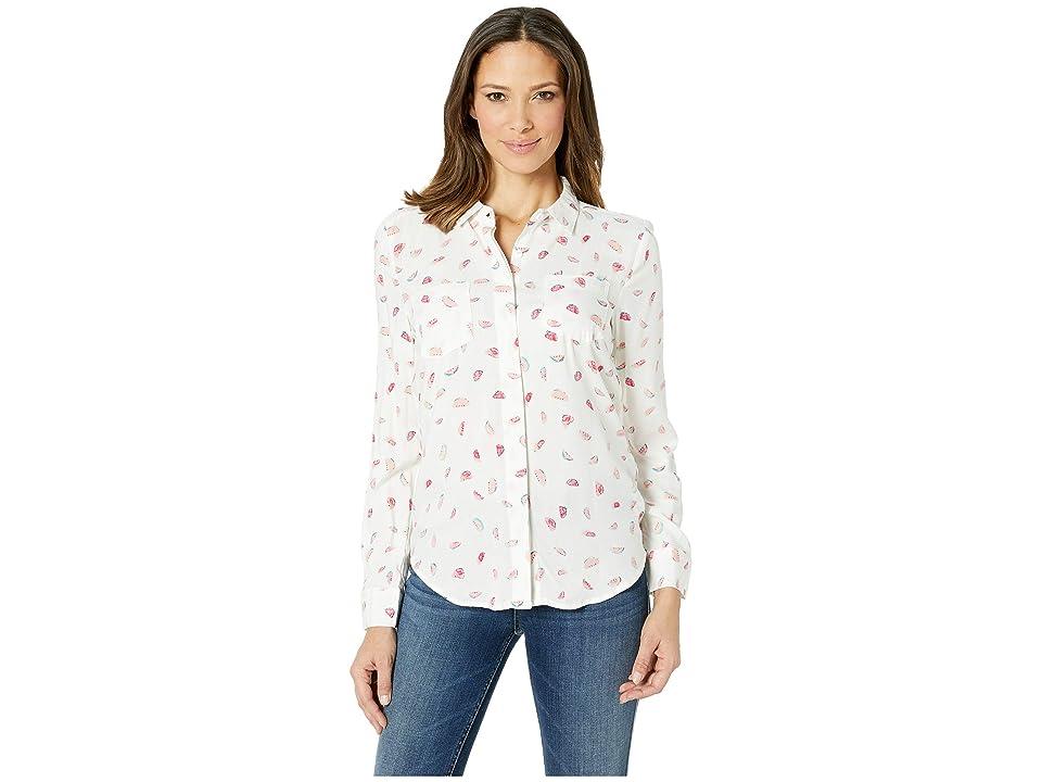 Per Se Long Sleeve Split Back Shirt (White Watermelon) Women's Clothing