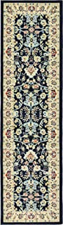 Unique Loom Kashan Collection Traditional Floral Overall Pattern with Border Navy Blue Runner Rug (2' 7 x 10' 0)