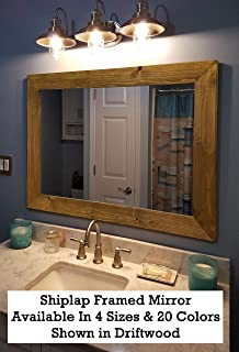 Shiplap Large Wood Framed Mirror Available in 4 Sizes and 20 Colors: Shown in Driftwood Stain - Large Wall Mirror - Rustic Barnwood Style - Bathroom Vanity Mirror - Bathroom Decor