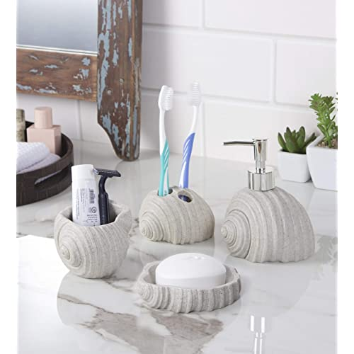 Zahab Shell Design Bathroom Accessories Set of 4 pcs- Lotion Dispenser, Toothbrush Holder, Tumbler Holder, Soap Dish (Ivory)