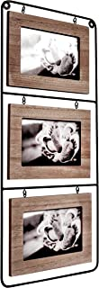 Space Art Deco Triple 6x4 Black Wire Picture Frame - Hold Three 6x4 Photos - Landscape - Wall Mounting - Black Iron - Floating Frame - Hanging Photograph - Flexible Metal Tabs (6x4 - Three)