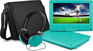 Ematic Portable DVD Player with 9-inch LDC Swivel Screen, Travel Bag and Headphones, Teal