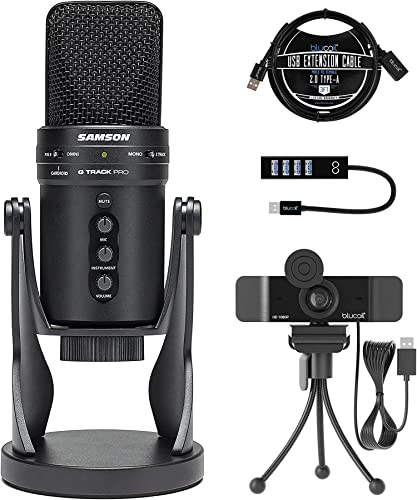 wholesale Samson G-Track Pro Professional USB Condenser Microphone, Black (SAGM1UPRO) Bundle with Blucoil 1080p USB Webcam for Windows and high quality Mac, USB-A Mini wholesale Hub, and 3-FT USB 2.0 Type-A Extension Cable sale