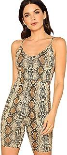 Milumia Women's Sexy Spaghetti Strap Snake Skin Print Cami Bodycon Bodysuit Tops