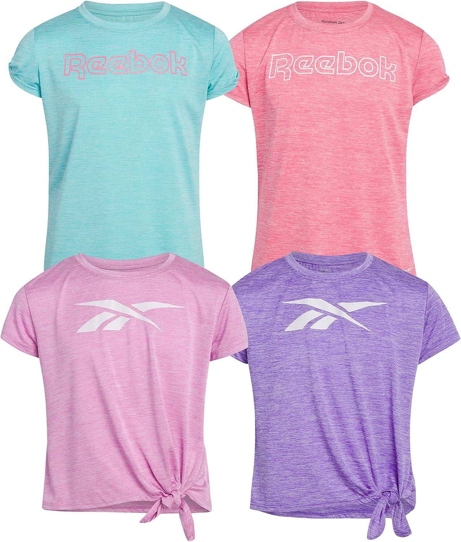 Reebok Girls' T-Shirt – Short Sleeve Active Performance T-Shirt (4 Pack)