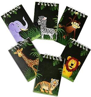 48 Count Zoo Jungle Animal Mini Notepads Safari Tropical Themed Birthday Party Favor Supplies Decor Lion Zebra Giraffe Tig...