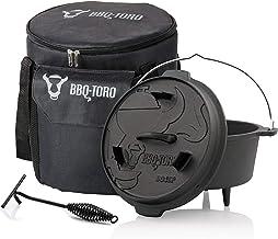 BBQ-Toro Dutch Oven Set 3-teilig I 4.5 QT Dutch Oven  Transporttasche  Deckelheber I Geschenk für Männer  Frauen