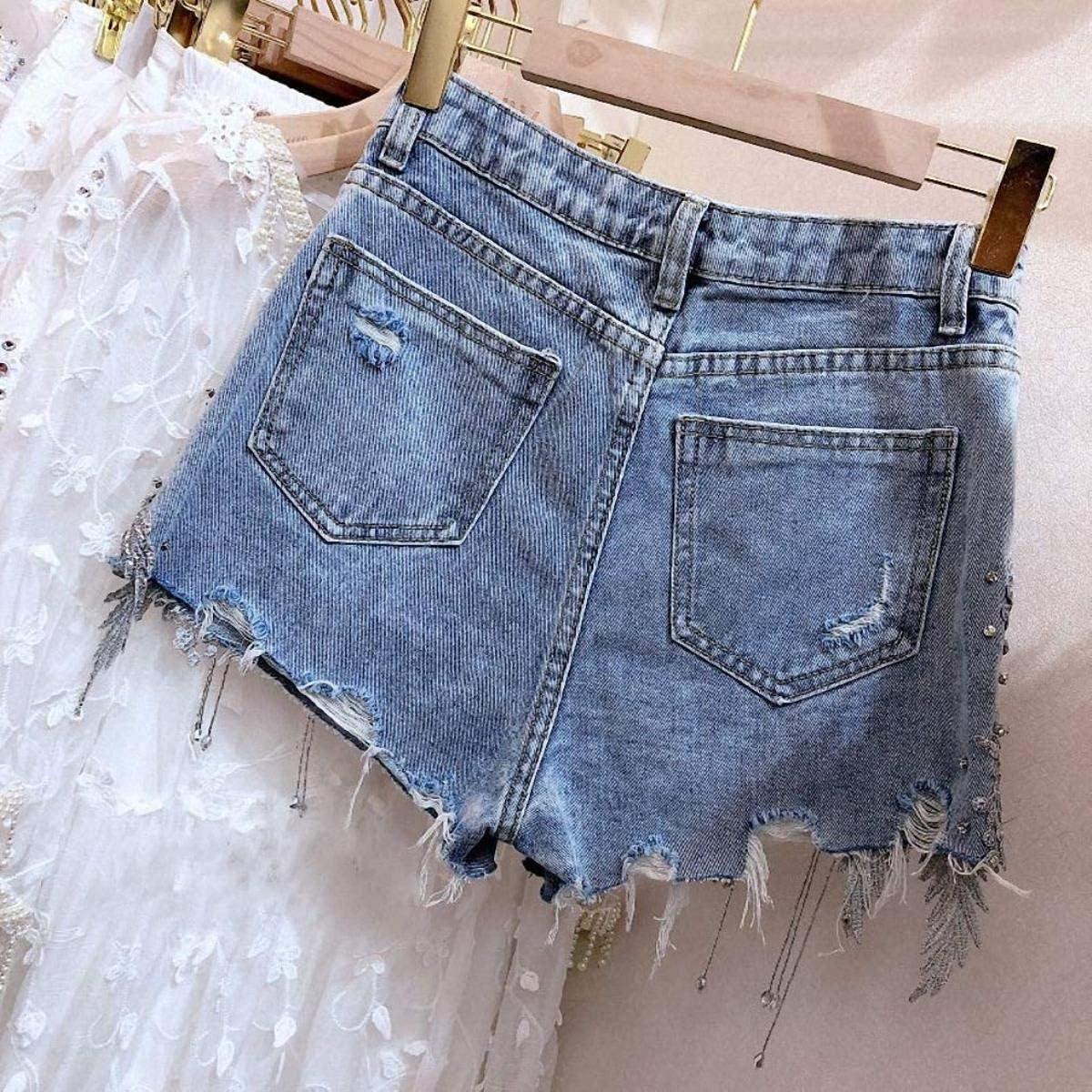 Summer Streetwear Bling Bling Diamonds Florals Denim Shorts Women Jeans