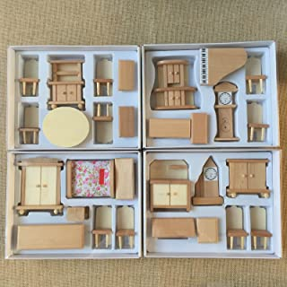 4 Boxes Set Dollhouse Miniature Unpainted Wooden Furniture Suite 1/24 Scale Model by worldpeace09