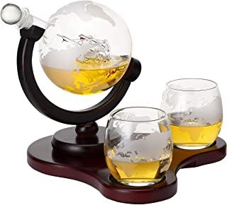 Verolux Whiskey Globe Decanter Set with 2 Glasses in Gift Box - for Liquor, Whiskey, Brandy, Gin, Rum, Tequila, Vodka, and Brandy - Home Bar Accessories for Men and Women