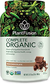 PlantFusion Complete Organic Plant Based Pea Protein Powder | Fermented Superfoods | Vegan, Gluten Free, Non Dairy, Soy Free, Chocolate, 2 LB