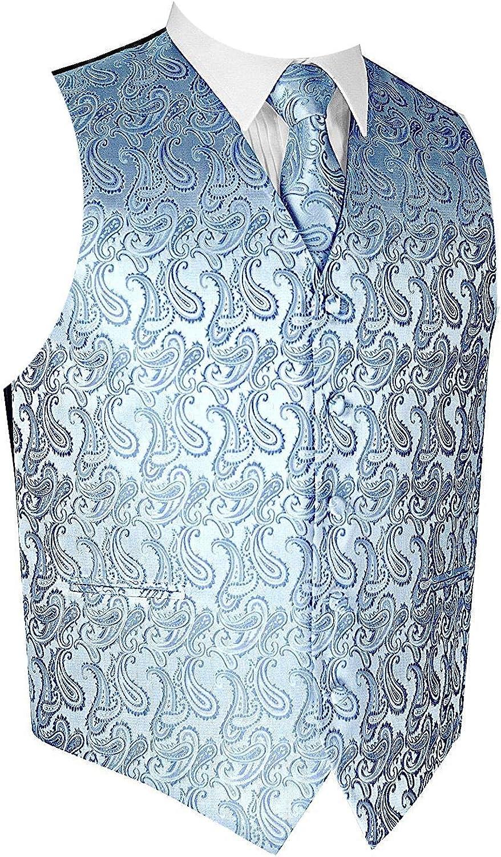 Men's 3pc Paisley Vest NeckTie Max 41% OFF Pocket Square Suit Set Max 49% OFF For or Tux