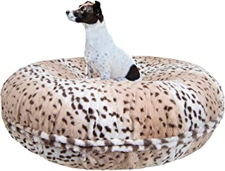 product image for BESSIE AND BARNIE Signature Aspen Snow Leopard Luxury Extra Plush Faux Fur Bagel Pet/Dog Bed (Multiple Sizes)