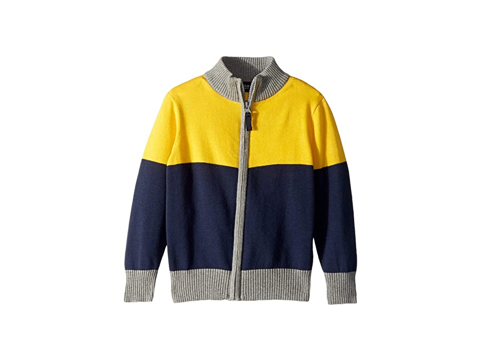 Toobydoo Knit Zip-Up Sweater (Toddler/Little Kids/Big Kids) (Navy/Yellow) Boy