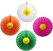 product image for 4 Large 20 Inch Tissue Paper Daisy Flower Fan Decorations (Assorted Colors - Cerise, White, Green, Orange)