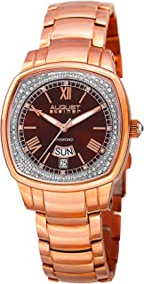 August Steiner Diamond Women's Watch - Radiant Sunburst Dial with Day and Date Window with Diamond Hour Markers On Stainless Steel Bracelet - AS8193