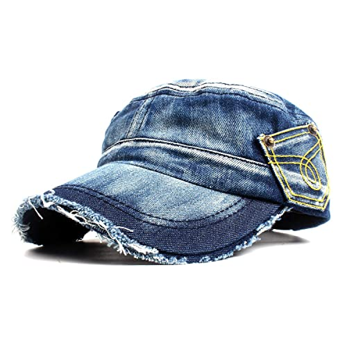 a1e4ee5c9630 Vintage Washed Denim Cotton Peaked Baseball Cap Distressed Cadet Army Cap  Military Hat Visor Flat Top