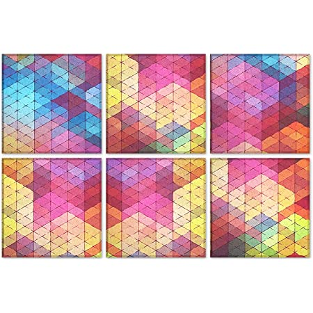 """BUBOS Art Acoustic Panels Soundproof Wall Panels,Sound Absorbing Panels Acoustical Wall Panels,Acoustic Treatment for Recording Studio,Office,Home Studio,12""""x12""""x0.4"""",Colorful Rhombus"""