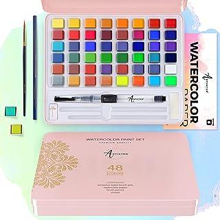 ست رنگ آبرنگ Artistro ، 48 رنگ واضح در جعبه قلع ، شامل رنگ های فلزی و فلورسنت. رنگ های آبرنگ مناسب برای بزرگسالان و کودکان ، لوازم هنری برای مبتدیان و یک هنرمند حرفه ای
