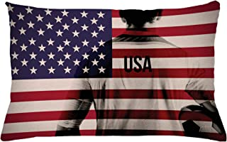 Ambesonne Soccer Throw Pillow Cushion Cover, Composite Double Exposure Image of a Soccer Player and American Flag USA Run, Decorative Rectangle Accent Pillow Case, 26
