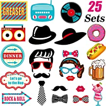 50's Photo Booth Props Kit 1950's Rock N Roll Party Supplies, Sock Hop Photo Props Kit, 25 Pieces