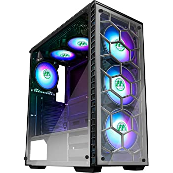 MUSETEX ATX Mid Tower Gaming Computer Case 6 RGB LED Fans 2 Translucent Tempered Glass Panels USB 3.0 Port,Cable Management/Airflow, Gaming Style Window Case (903N6)