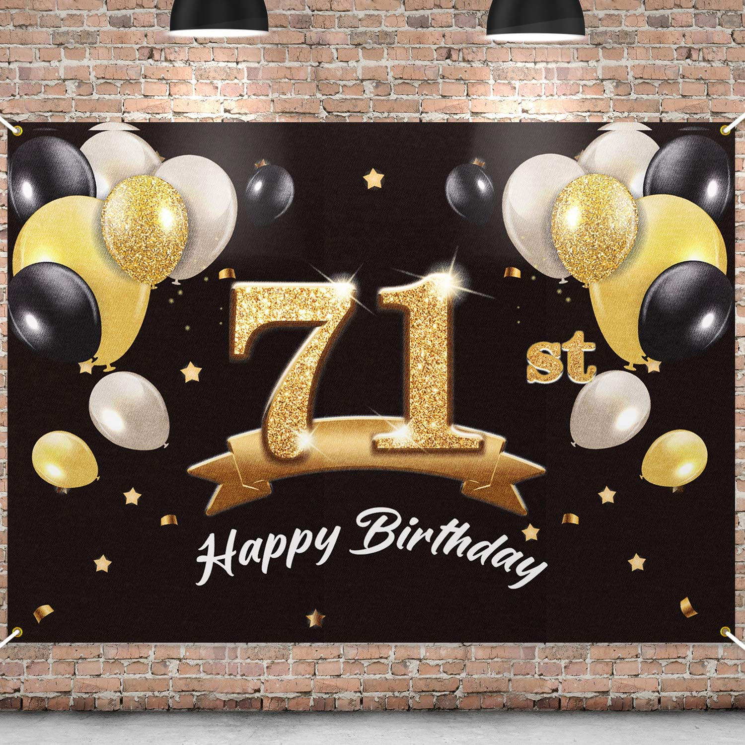PAKBOOM Happy 71st Our shop most popular Birthday Banner - 71 Inventory cleanup selling sale Backdrop Party