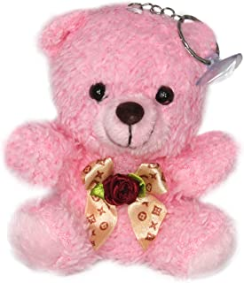 "Lucore 4"" Fluffy Fur Teddy Bear Plush Toy Keychain - Stuffed Animal Hanging Doll, Lucky Charm & Ornament (Pink)"