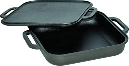 Jim Beam JB0218 3-in-1 Cast Iron Skillet with Double Sided Griddle, 3, Black