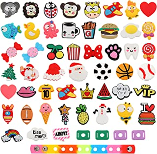 50 Pieces PVC Shoe Charms Cartoon Shoe Charms with 4 Pieces Shoe Lace Adapter and Wristband Bracelet for Clog Shoes, Party Gifts