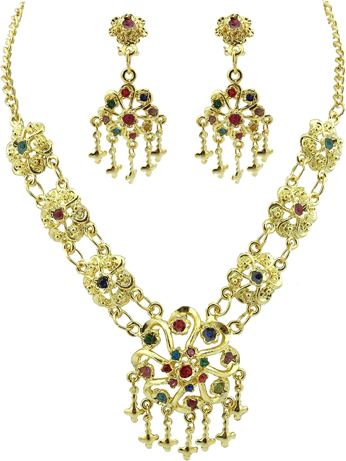 Siwalai Thai Traditional Gold Plated Multicolor Crystals Necklace Earrings Jewelry Set 18 Inches