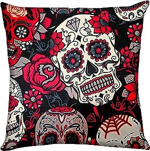 Dead Sugar Skull Flower Pillow Case Throw Cushion Cover Zipper Without Insert 18x18inch Halloween Home Decor Dia De Muertos Square Cotton Linen Couch Sofa Bedding Livingroom Car Fall Decorative Set