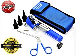 Premium Student Home USE LED Bright Light ENT Diagnostic Otoscope Pocket Size Blue Plus Aligator Ear Nose Forceps Plus 1 Extra Replacement Bulb Plus 10 Specula Cynamed