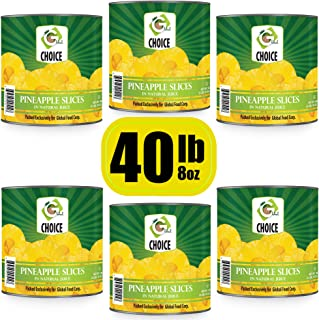 Global Choice - Pineapple Slices in Natural Juice - 108 oz - JUMBO size (6 Jumbo Size Can (648 OZ))