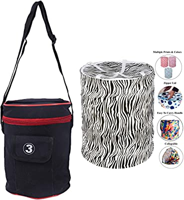 Kuber Industries Rexine 1 Piece Lunch Box Cover (Black) -CTKTC6226 & Round Cloth Foldable Laundry Basket Bag, Volume:-30L,Multi Color Combo