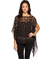 Vince Camuto Specialty Size Petite Deco Highlights Panel Print Poncho