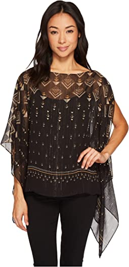 Vince Camuto Specialty Size - Petite Deco Highlights Panel Print Poncho