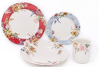 Tudor Royal Collection 24-Piece Premium Quality Porcelain Dinnerware Set, Service for 6 - CRIMSON; See 10 Designs Inside!