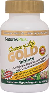 NaturesPlus Source of Life Gold Tablets - 90 Vegetarian Tablets - High Potency, Organic Whole Food Multivitamin - With Probiotics & Antioxidants - Gluten-Free - 30 Servings