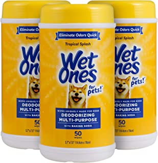 Wet Ones for Pets Deodorizing Multi-Purpose Dog Wipes With Baking Soda, 50 Count - 3 Pack| Dog Deodorizing Wipes For All D...