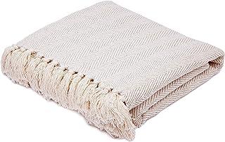 "Americanflat Zaina Throw Blanket in Cream Herringbone - 100% Cotton with Fringe - 50"" x 60"""