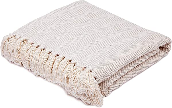 Americanflat Zaina Cream Herringbone Cotton Blanket Throw With Fringe 50x60 Inches