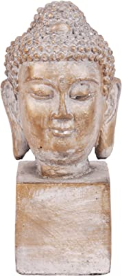 Benjara Buddha Figurine with Ushnisha Head on Rectangular Base, Brown and Gray