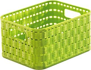 Rotho Country Panier de Rangement 2L en Rotin, Plastique (PP) sans BPA, Vert, A6/2L (18,3 x 13,7 x 9,8 cm)