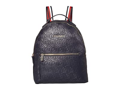 Tommy Hilfiger Iconic Tommy Backpack (Navy Embossed Monogram) Backpack Bags