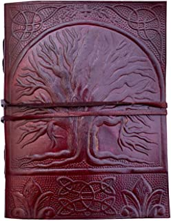 Pearl Leather Embossed Fair Trade Tree of Life Design Oak Tree Leather Blank Leather Journal Diary Notebook for Men Women 7x5 Inch