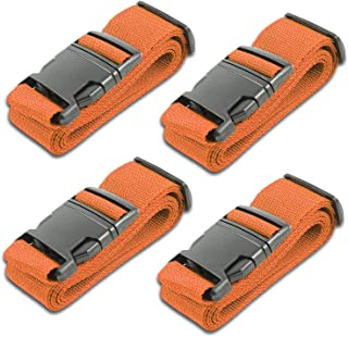 Orange Luggage Belts Suitcase Straps Adjustable and Durable, Name Card, Travel Case Accessories, 4 Pack