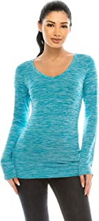 Hailey Women's Long Sleeve Workout Shirt – Basic V Neck Slim Fit Top Tee Athletic Fitted Active Wear Running Yoga Sport