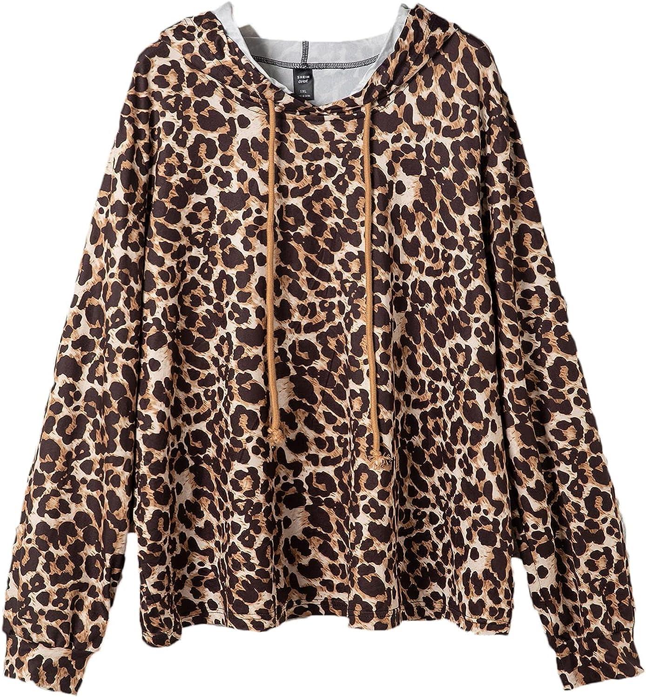 SheIn Women's Plus Leopard Print Drawstring Hoodie Long Sleeve Pullover Sweatshirt